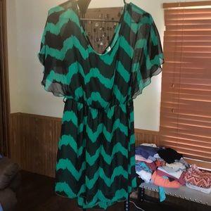 Dresses & Skirts - Green/black sheer dress